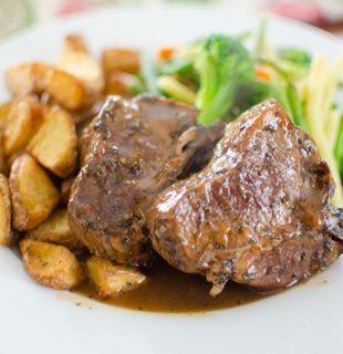 Rosemary Lamb Loin Chops with Mint Gravy