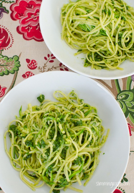 Slimming Eats Zucchini and Linguine with Homemade Pesto - vegetarian, Slimming World and Weight Watchers friendly