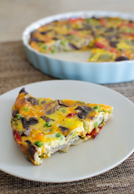 Slimming Eats Roasted Vegetable Frittata - gluten free, vegetarian, Slimming World (SP) and Weight Watchers friendly