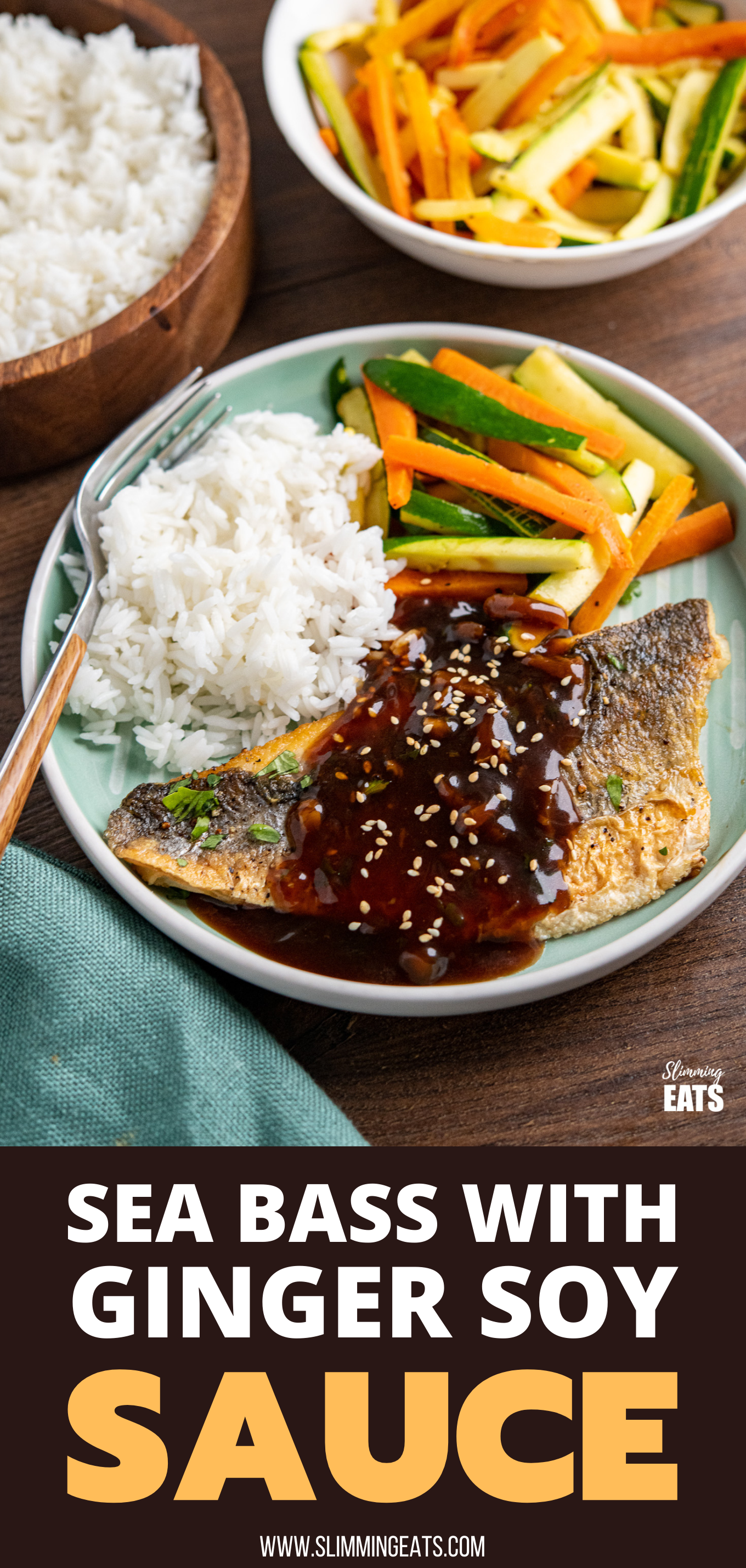 Pan-fried Sea Bass with Ginger Soy Sauce on teal plate with rice, carrot and zucchini stir fry