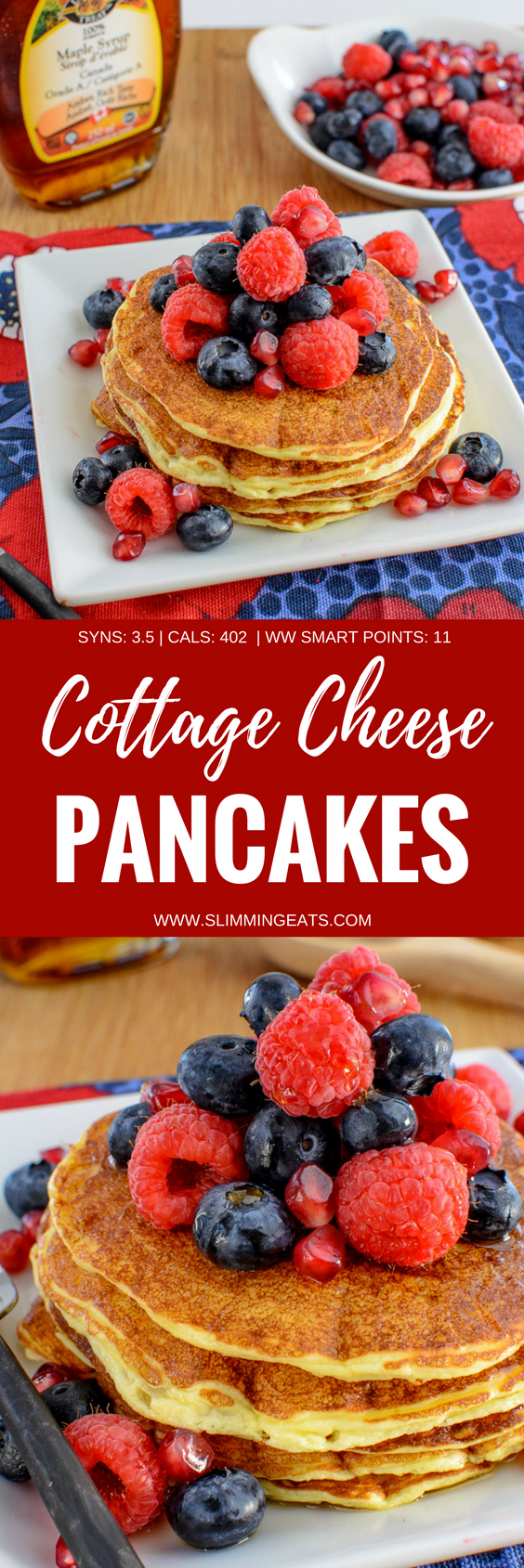 Delicious Cottage Cheese Pancakes - no healthy extras need for these. So perfect to enjoy any time of day. Gluten Free, Vegetarian, Slimming World and Weight Watchers friendly.  SYNS: 2.5 | CALORIES: 282 | WEIGHT WATCHERS SMART POINTS: 3 | www.slimmingeats.com