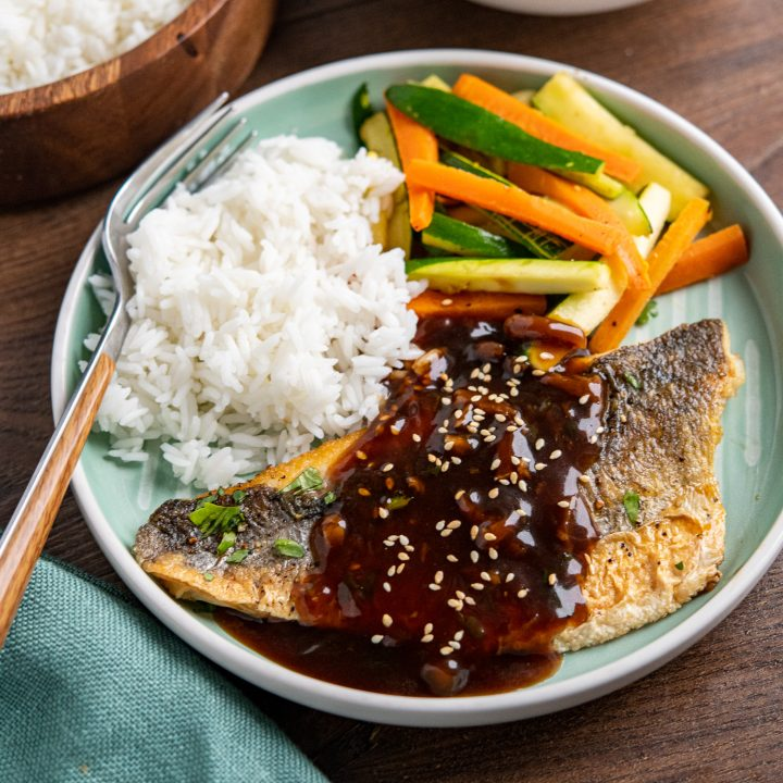 Pan-Fried Sea Bass with Ginger Soy Sauce