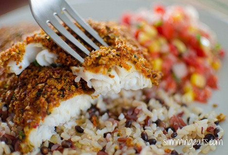 Slimming Eats Cheesy Taco Breaded Basa Fillet - Slimming World (SP) and Weight Watchers friendly