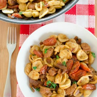 Sausage, Balsamic Tomatoes and Onion with Orecchiette