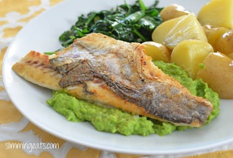 Slimming Eats Pan-fried Sea Bass with Creamy Mashed Peas - gluten free, Slimming World and Weight Watchers friendly