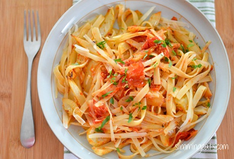 Slimming Eats Roasted Tomatoes and Fennel Fettucine - gluten free, vegetarian, Slimming World and Weight Watchers friendly