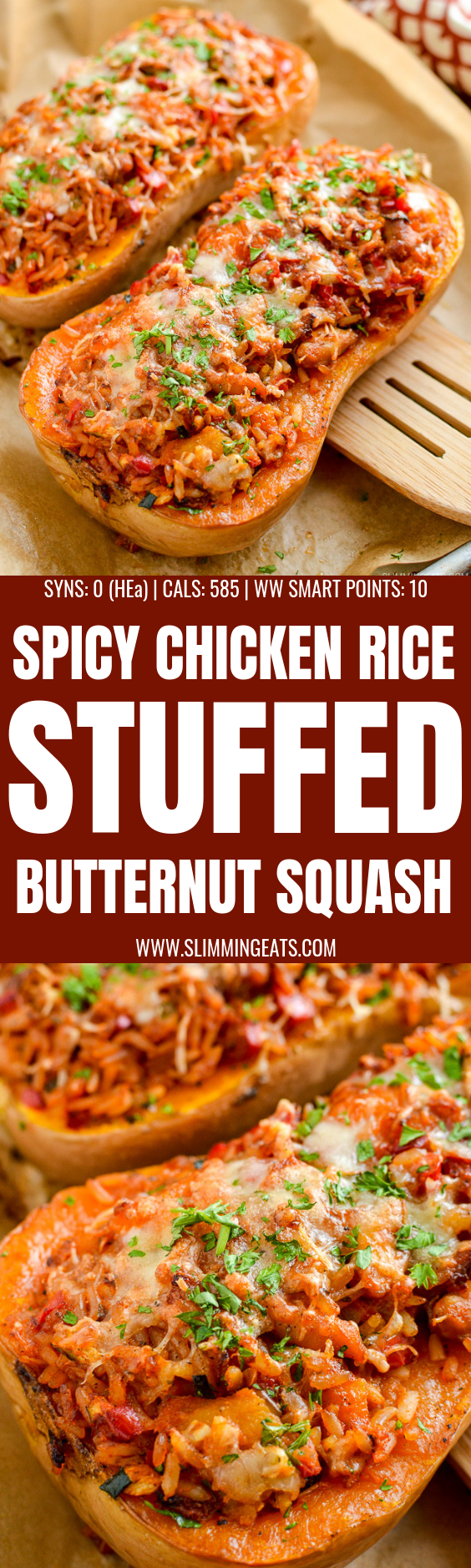 Sweet Roasted Butternut Squash Stuffed with Spicy Chicken and Rice topped with melted golden cheese - a perfect meal all in one. | gluten free, Slimming World and Weight Watchers friendly