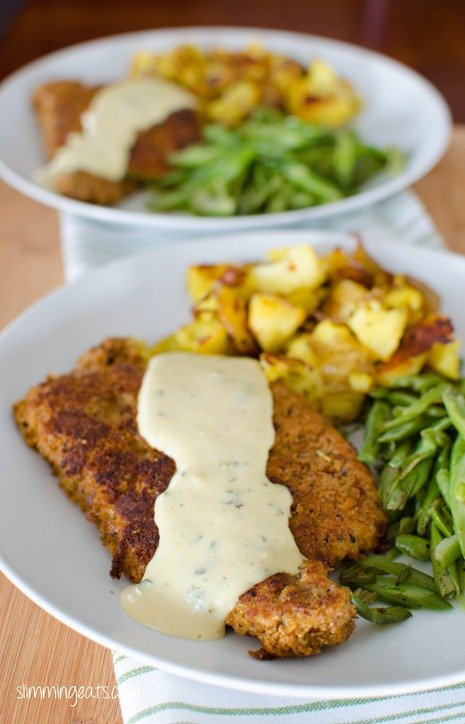 Slimming Eats Pork Schnitzel with Creamy Parsley Sauce - Slimming World and Weight Watchers friendly