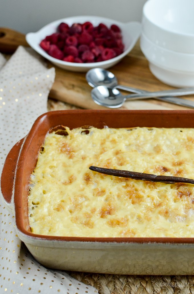 Slimming Eats Baked White Chocolate Rice Pudding - vegetarian, Slimming World and Weight Watchers friendly