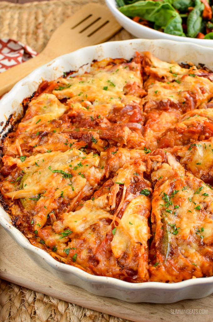 Slimming Eats Barbecue Chicken Spaghetti Squash Bake - gluten free, Slimming World and Weight Watchers friendly