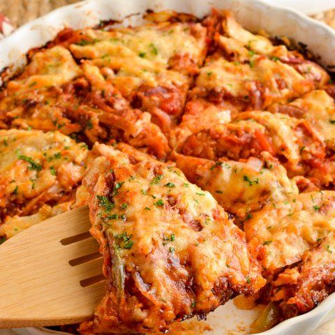 Barbecue Chicken Spaghetti Squash Bake