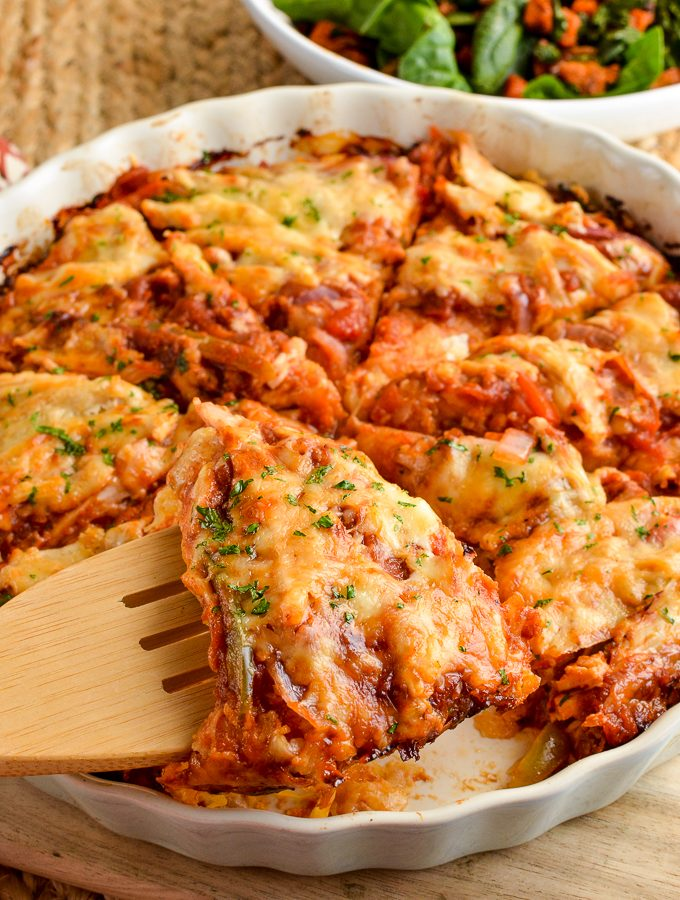 Barbecue Chicken Spaghetti Squash Bake