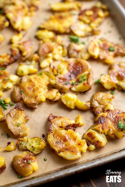 close up of crushed roast potatoes
