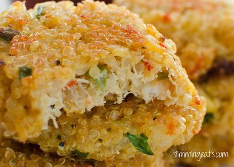 close up of crab and quinoa cakes