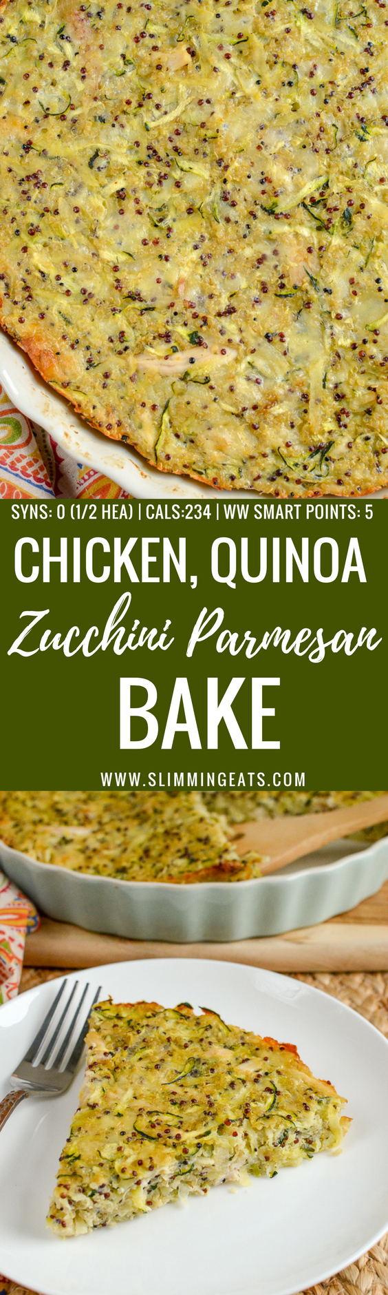 Syn Free Chicken, Zucchini, Parmesan and Quinoa Bake makes the perfect protein-packed lunch or snack on the go for your the entire family. Gluten-Free, Slimming World and Weight Watchers friendly | www.slimmingeats.com