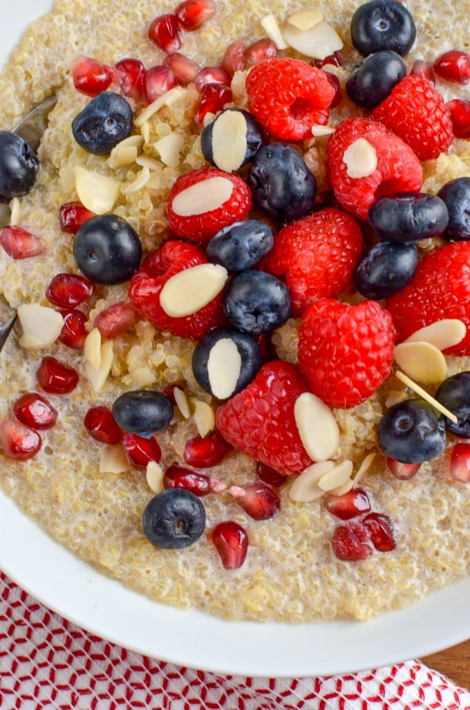 I love rice pudding and oatmeal, and this delicious Coconut Quinoa Pudding Breakfast Bowl is a great alternative that doesn't use your healthy extra B allowance. Gluten free, dairy free, vegan, Slimming World and Weight Watchers friendly   www.slimmingeats.com