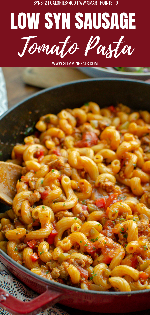sausage and tomato pasta pin image