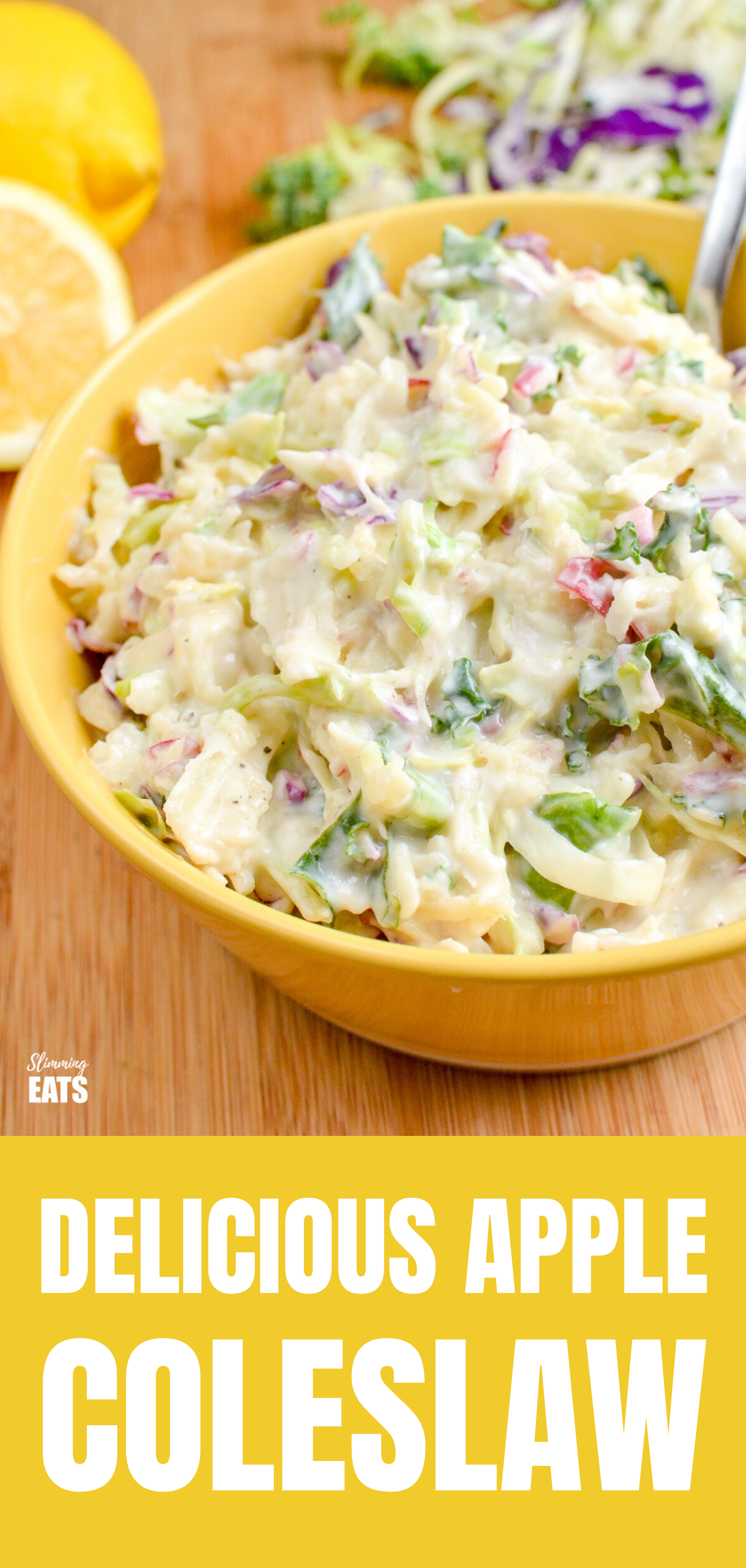 Sweet Tangy and Creamy Apple Coleslaw FEATURED PIN