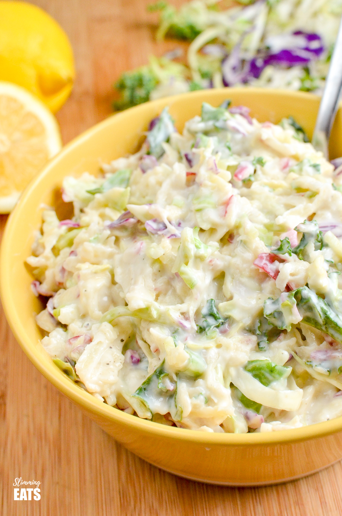 close up of Sweet Tangy and Creamy Apple Coleslaw