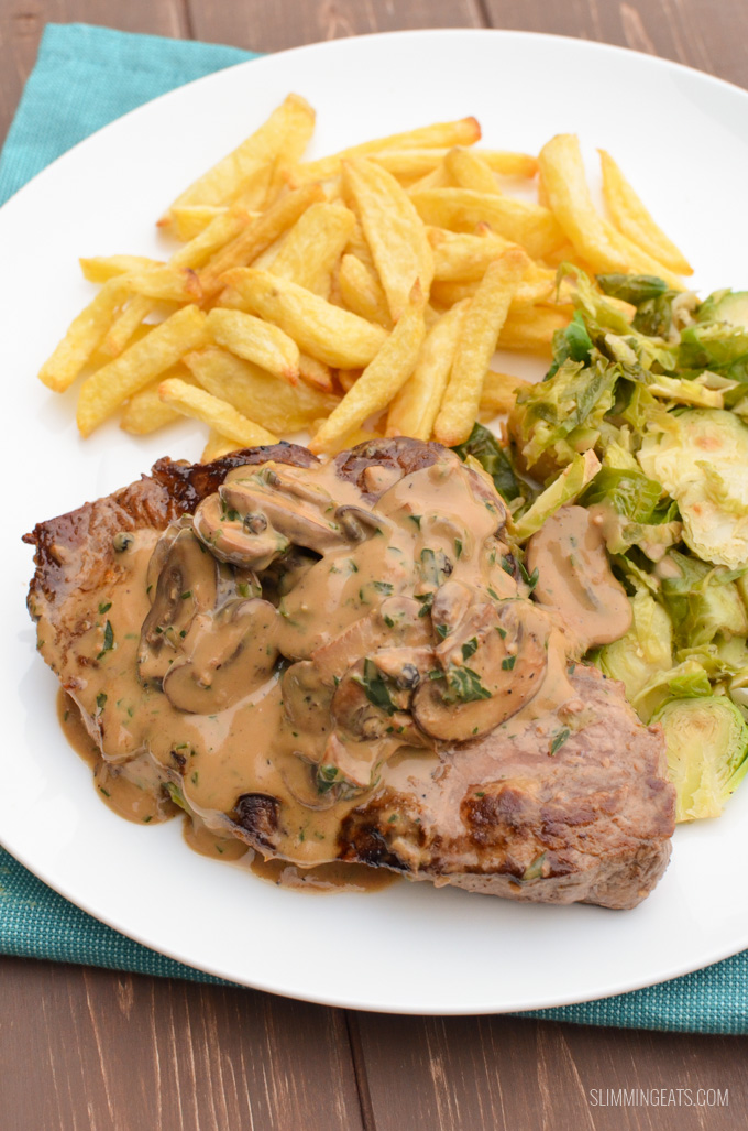 Slimming Eats Steak with Creamy Mushroom Peppercorn Sauce - gluten free, Slimming World and Weight Watchers friendly