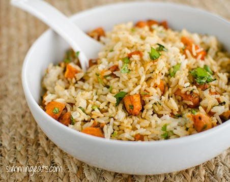 Roasted Butternut Squash Rice - Gluten Free, Dairy Free, Slimming World and Weight Watchers friendly