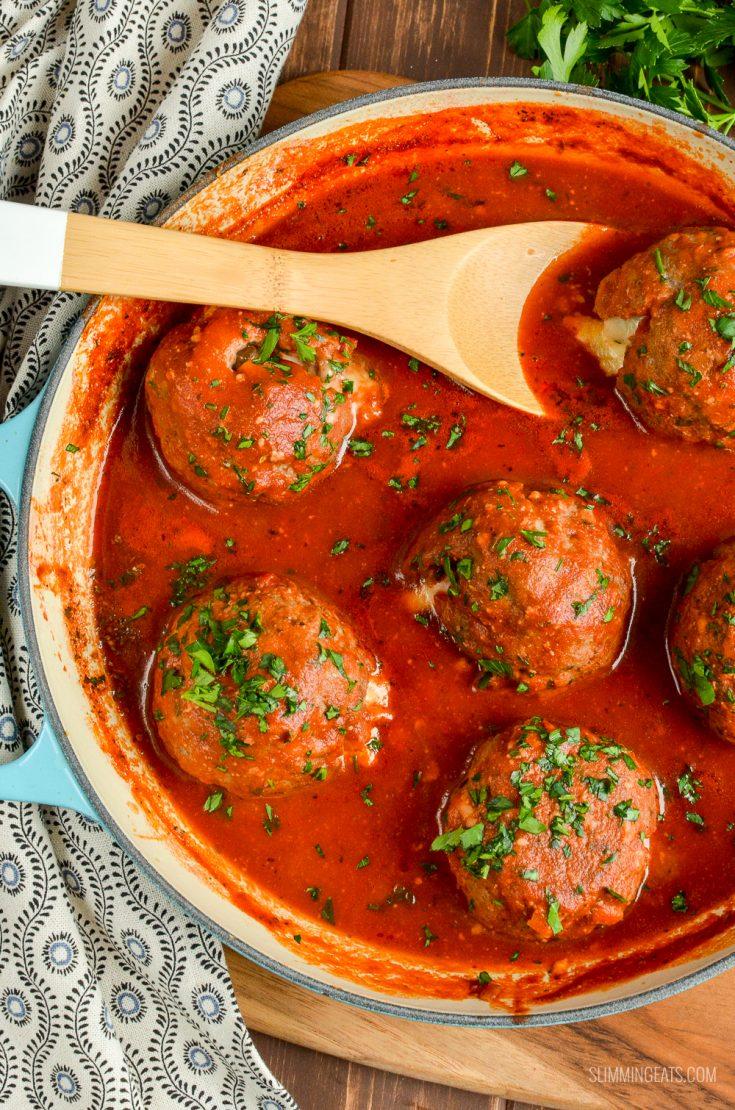 Mega Stuffed Meatballs with a Tomato Sauce
