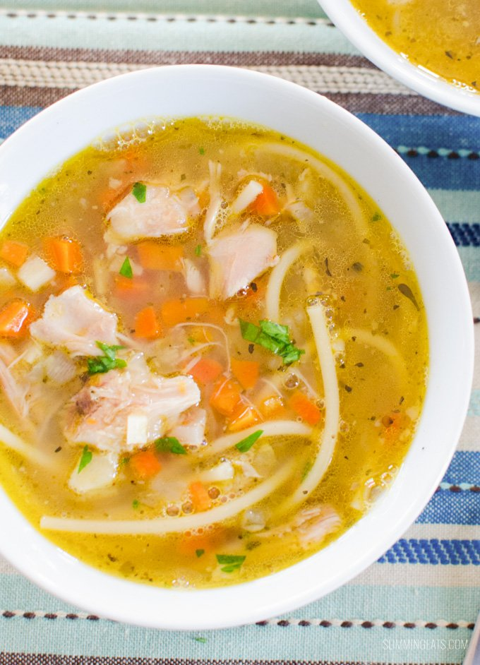 Slimming Eat Chicken Noodle Soup - gluten free, dairy free, paleo, whole30, Slimming World and Weight Watchers friendly