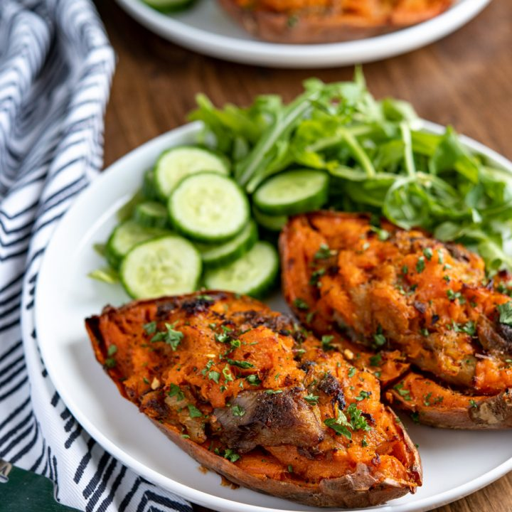 Double Baked Smoked Mackerel Stuffed Sweet Potato