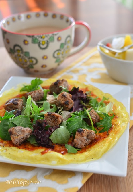 Breakfast Omelette Pizza - Dairy Free, Gluten Free, Slimming World, Weight Watchers, Paleo and Whole30 friendly