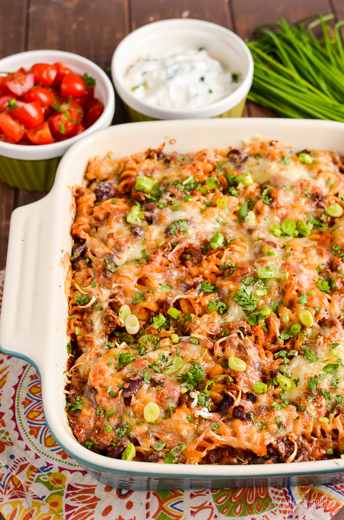 Slimming Eats Syn Free Mexican Pasta Bake - gluten free, vegetarian, Slimming World and Weight Watcher friendly