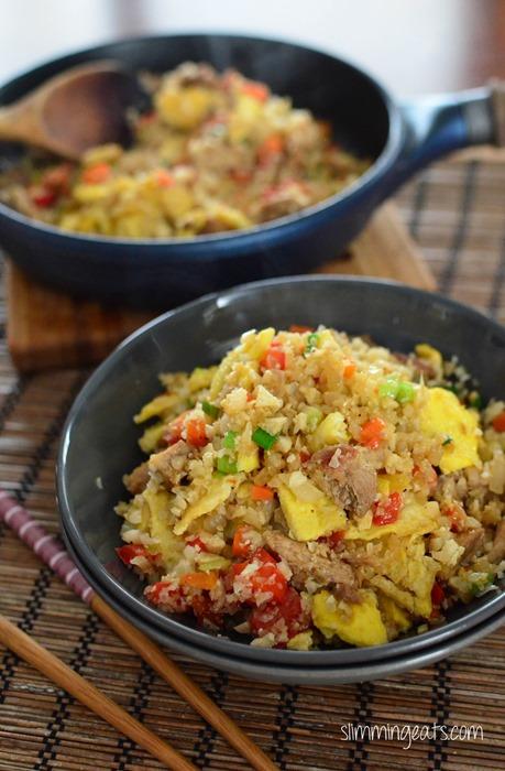 Slimming Eats Chicken Fried Cauliflower Rice - gluten free, dairy free, Whole30, Paleo, Slimming World (SP) and Weight Watchers friendly