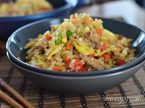 Slimming Eats Chicken Fried Cauliflower Rice - gluten free, dairy free, Whole30, Paleo, Slimming World (SP) and Weight Watchers friendly