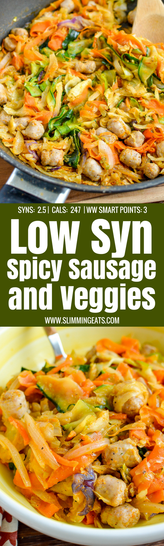 Spicy Sausage and Veggies - a delicious and healthy meal packed with speed foods.Gluten Free, dairy free, paleo, Slimming World and Weight Watchers friendly