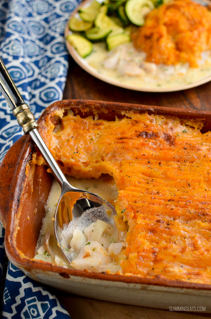 A Simple Dairy Free Fish Pie topped with Delicious Mashed White and Sweet Potato for a comforting family meal. | gluten free, dairy free, paleo, Whole30, Slimming World and Weight Watchers friendly