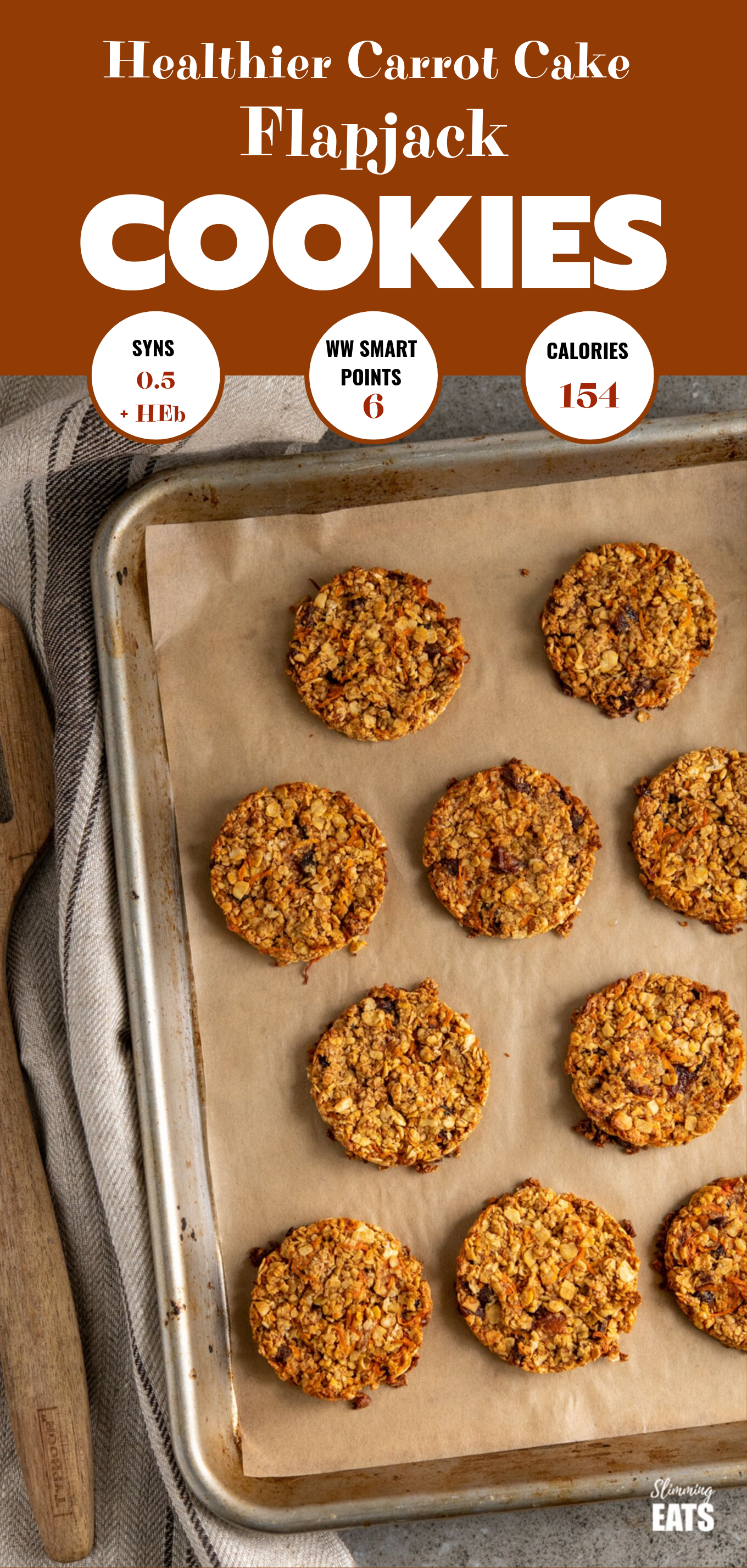carrot cake flapjack cookies featured pin image