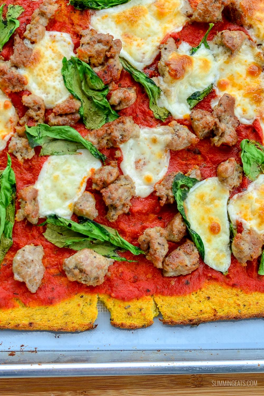 cauliflower pizza on baking tray