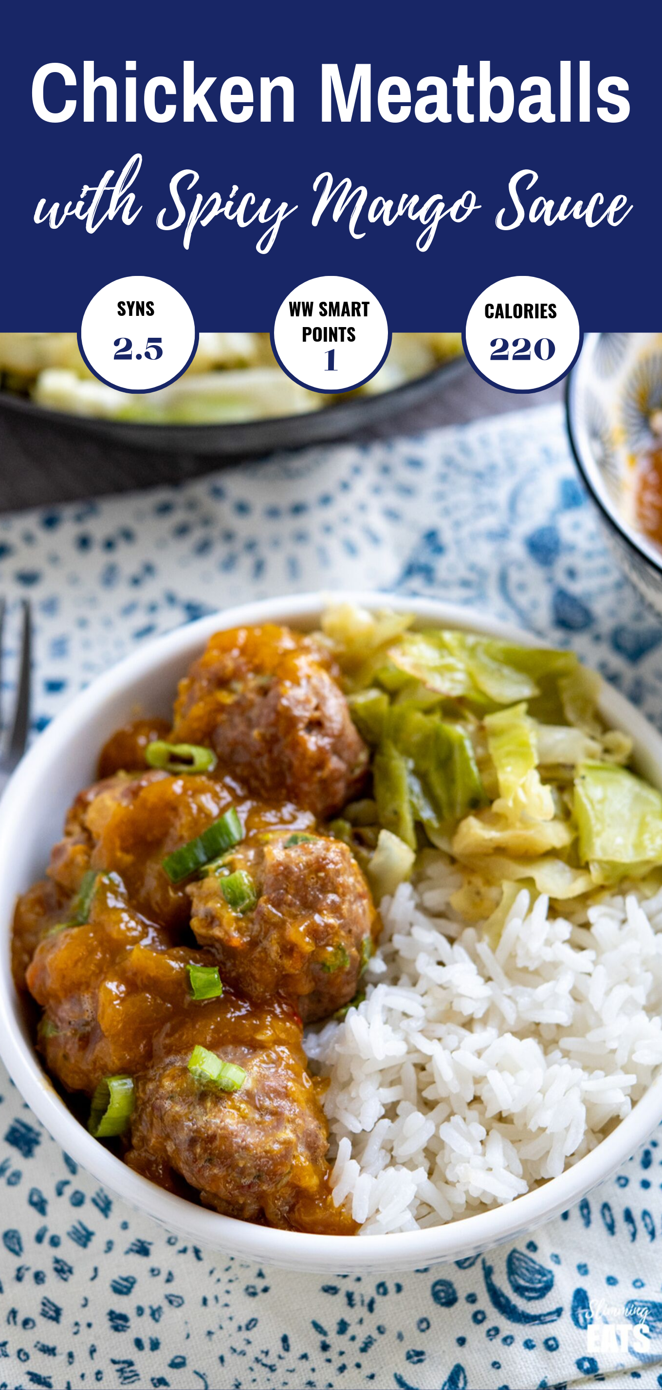 chicken meatballs with spicy mango sauce featured pin image