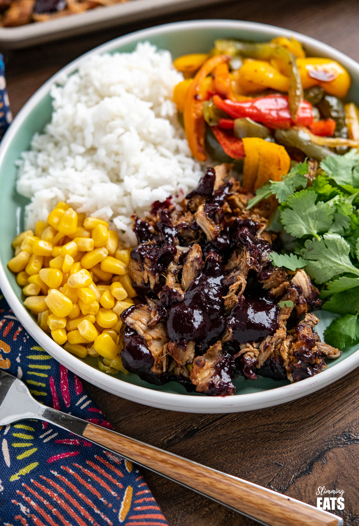 close up of Pulled Pork with Blueberry BBQ sauce on teal plate with rice, corn, coriander and peppers