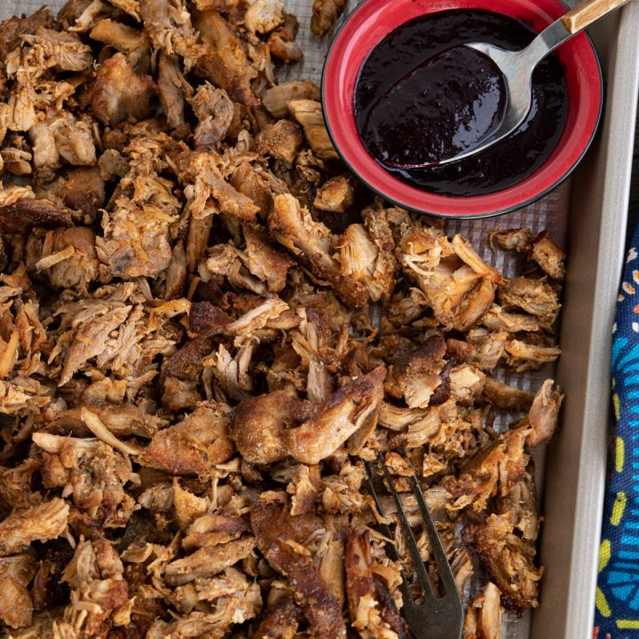 Slow Cooker Pulled Pork with Blueberry BBQ sauce