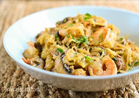 Shrimp Spaghetti Squash Alfredo