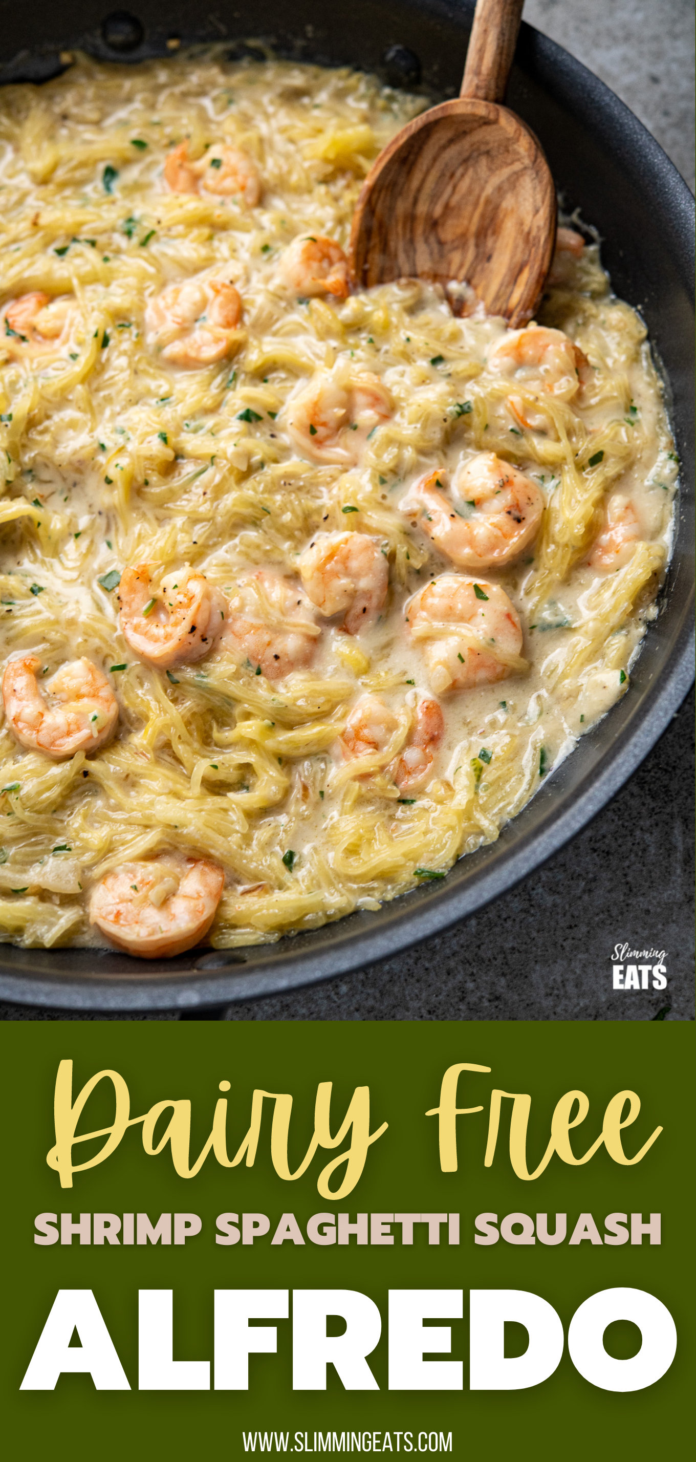 close up of Shrimp Spaghetti Squash Alfredo in a black frying pan with olive wood spoon