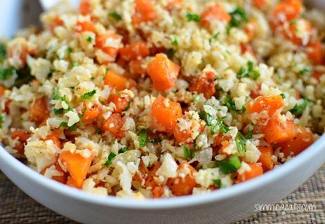 Slimming Eats - Roasted Butternut Squash Cauliflower Rice - Gluten Free, Dairy Free, Whole30, Paleo, Slimming World and Weight Watchers friendly