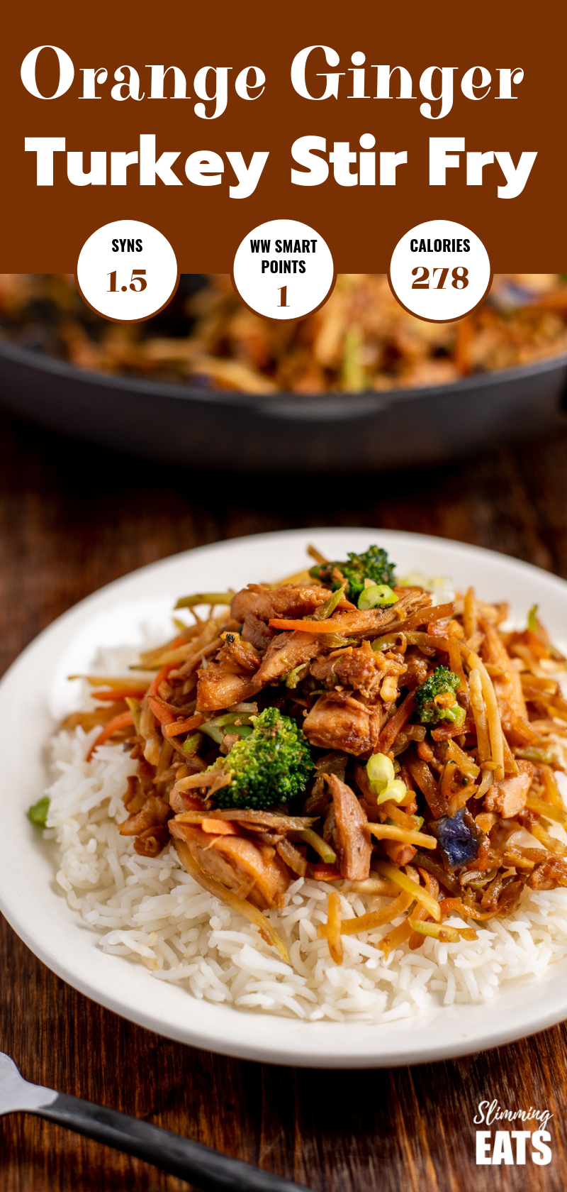orange and ginger turkey stir fry on white plate pin image