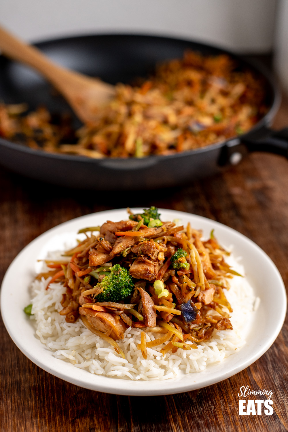 orange and ginger turkey stir fry with white rice on white plate