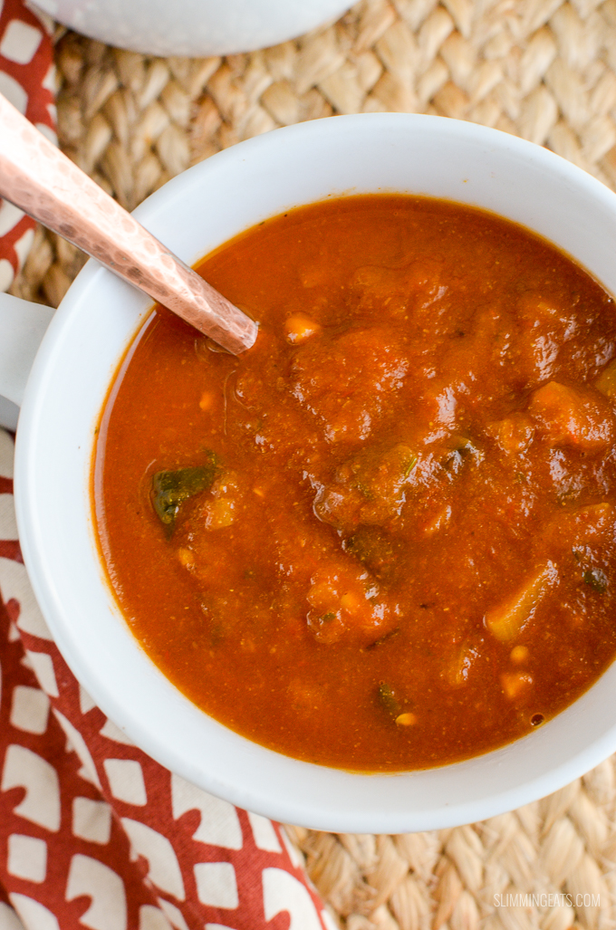 Slimming Eats Spicy Eggplant and Tomato Soup - gluten free, dairy free, vegan, Slimming World and Weight Watchers friendly
