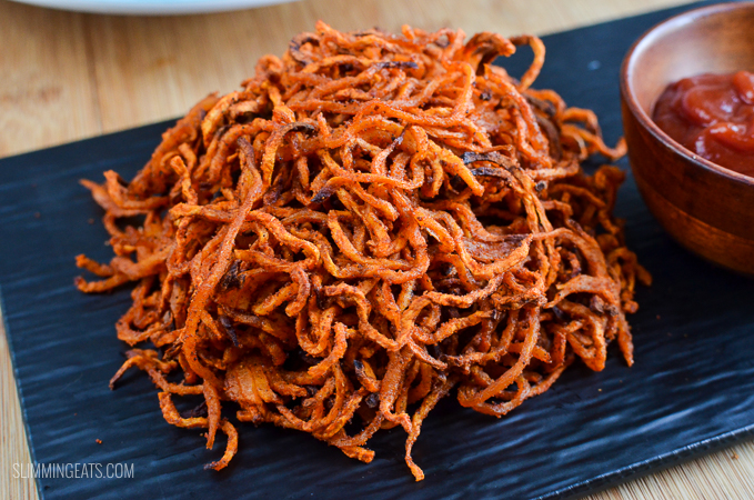 spiralized seasoned swede fries with ketchup