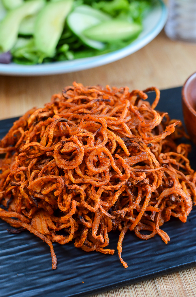 Slimming Eats Syn Free Spiralized Seasoned Swede Fries - gluten free, dairy free, paleo, vegetarian, Slimming World and Weight Watchers friendly