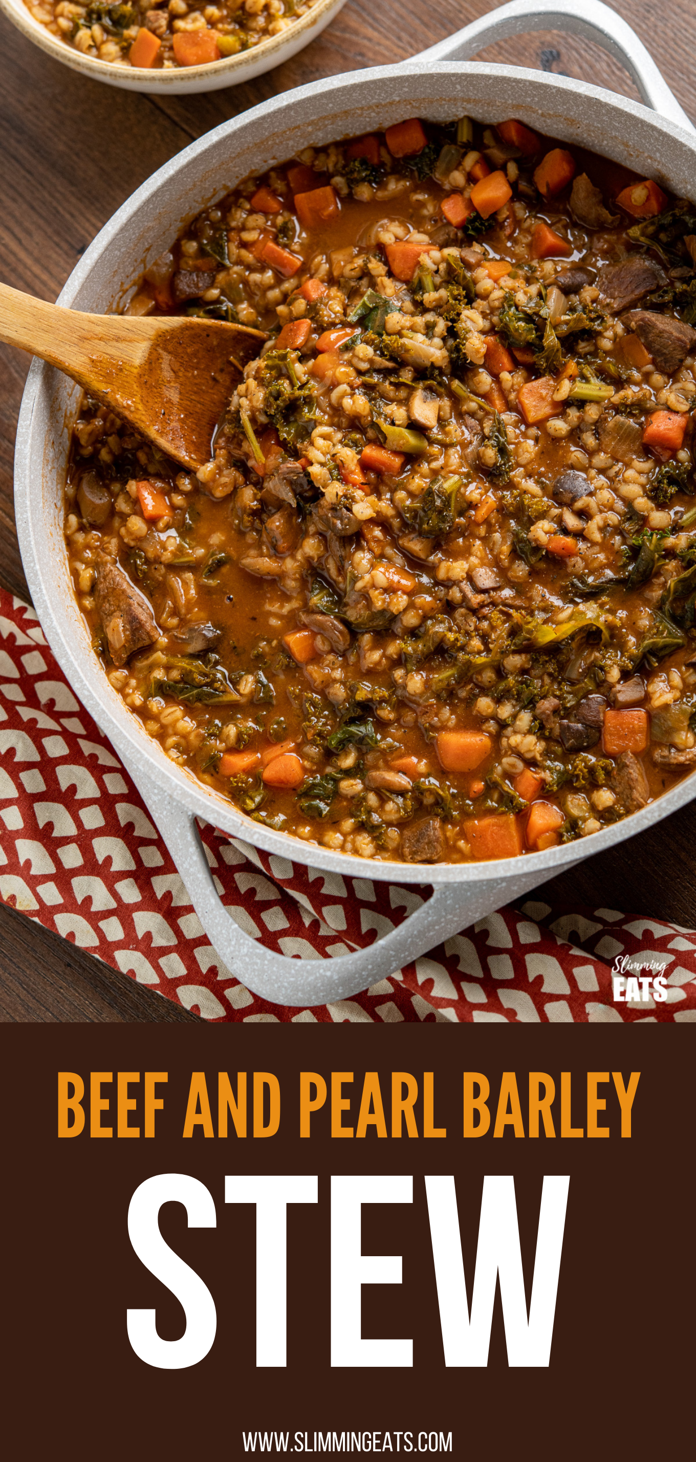 Beef and Pearl Barley Stew in casserole pot with wooden spoon pin image