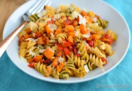 Slimming Eats Roasted Butternut Squash and Red Pepper Pasta - gluten free, vegetarian, Slimming World and Weight Watchers friendly