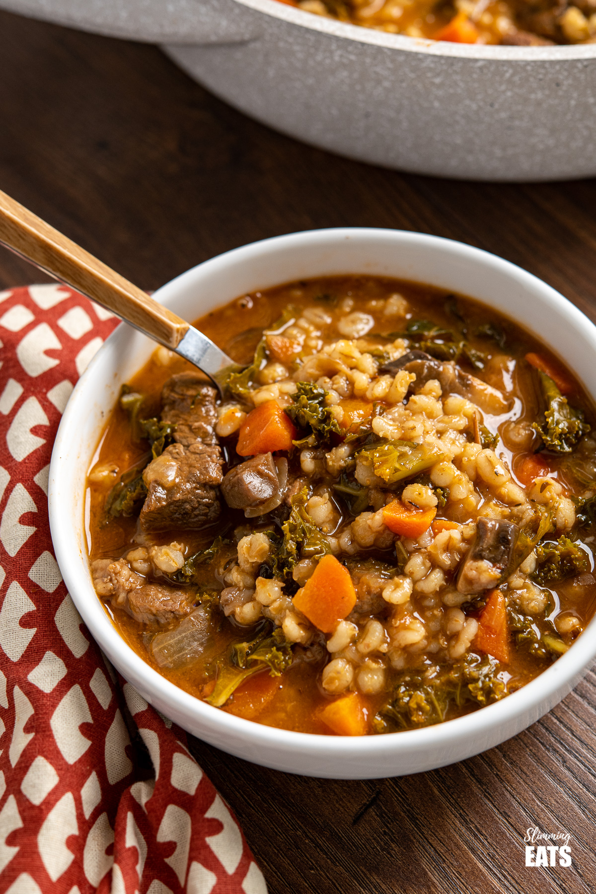beef and barley stew in white bowl with wooden handled spoon, patterned napkin to the left